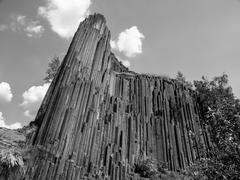 basalt organ pipes in black and white - stock photo
