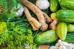 Ingredients preparation pickled cucumbers Stock Photos