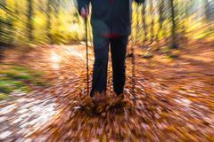 Nordic walking sport run walk motion blur outdoor person legs forest fall aut Stock Photos