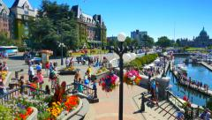4K Scenic City of Victoria Canada and Flowers, Province of British Columbia Stock Footage