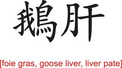 Stock Illustration of Chinese Sign for foie gras, goose liver, liver pate