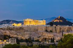 View on Acropolis at night Stock Photos