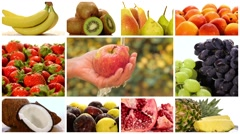 Diverse fruits montage Stock Footage