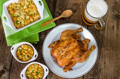 Grilled chicken stuffed with czech beer Stock Photos