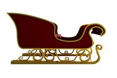 Red and gold santa sleigh - stock illustration