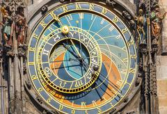 Astronomical clock on Town hall, Prague - stock photo