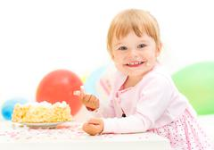 Stock Photo of Little girl celebrating second birthday