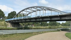 Joe's Bridge (Bridge No.9) on the Maas-Scheldt Canal, Neerpelt, Lommel, Belgium. Stock Footage