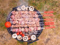 Shish kebab, mushroom and tomatoes - stock photo
