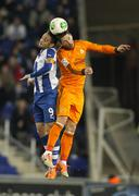 Sergio Garcia(L) of Espanyol vies with Sergio Ramos(R) of Real Madrid - stock photo