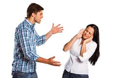 Aggressive man overpowering his girlfriend - stock photo