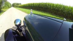 1929 Ford Model A POV Corn Field Background Stock Footage