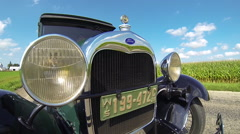 1929 Ford Model A Corn Field Background Stock Footage