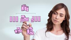 Composite image of concentrated businesswoman - stock illustration