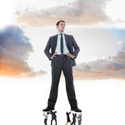 Stock Illustration of Composite image of business team supporting boss