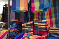 Fabrics and Textiles Shopping in Ecuador Stock Photos