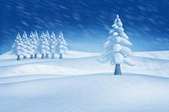 Stock Illustration of Composite image of fir trees in snowy landscape