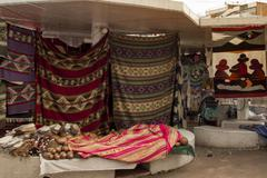Textiles Shopping in Ecuador Stock Photos