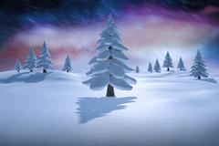 Stock Illustration of Composite image of white snowy landscape with fir trees