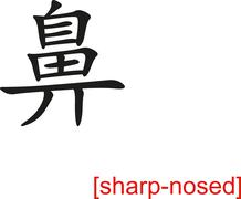 Chinese Sign for sharp-nosed Stock Illustration