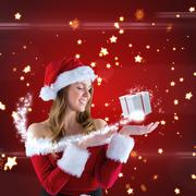 Composite image of sexy santa girl presenting with hand - stock illustration