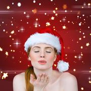 Composite image of sexy santa girl blowing a kiss Stock Illustration