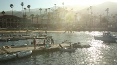 CATALINA ISLAND SUNSET BEACH AND BOATS Stock Footage