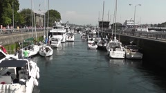 Boats Lined Up In The Ballard Locks Stock Footage