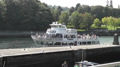 Tour Boat Enters Ballard Locks Stock Footage