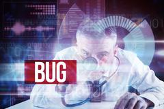 Bug against blue technology interface with dial - stock illustration