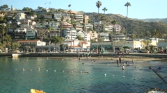 CATALINA ISLAND BEACH AND HOUSES Stock Footage
