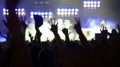 Concert crowd at live music concert, festival Stock Footage