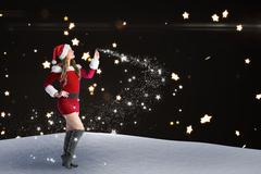 Composite image of sexy santa girl looking up Stock Illustration