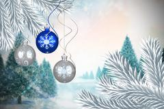 Stock Illustration of Composite image of digital hanging christmas bauble decoration