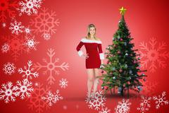Composite image of pretty girl smiling in santa outfit - stock illustration