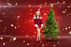 Composite image of sexy santa girl smiling at camera Stock Illustration