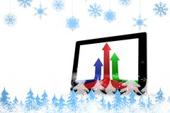 Stock Illustration of Composite image of snowflakes and fir trees