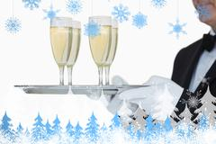 Composite image of waiter carrying tray full glasses of champagne - stock illustration