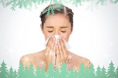 Composite image of sick young model blowing her nose Stock Illustration
