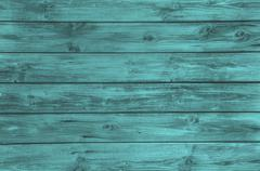 old wooden painted background in turquoise color. - stock photo