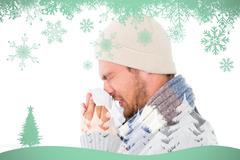 Composite image of handsome man in winter fashion blowing his nose Stock Illustration