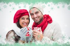 Composite image of attractive young couple in warm clothes holding mugs - stock illustration
