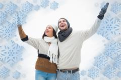 Composite image of attractive young couple in warm clothes with arms up - stock illustration