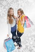 Composite image of two beautiful young women with shopping bags the thumbup - stock illustration