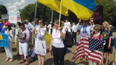 Ukrainians protest Russia Stock Footage