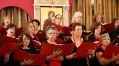 The Misgav Hagalil Liturgical Choir performs in the Church of Eilabun Stock Footage