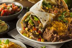 homemade giant beef burrito - stock photo