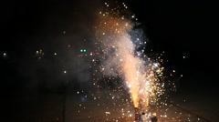 Small fireworks show on the sidewalk. Stock Footage