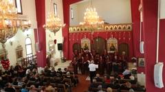 The Eilabun Church Choir performs in the Church of Eilabun Stock Footage
