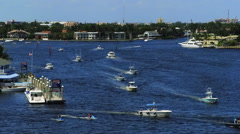 Fort Lauderdale, Florida view of Intracoastal Waterway from 17th Street Bridge. Stock Footage